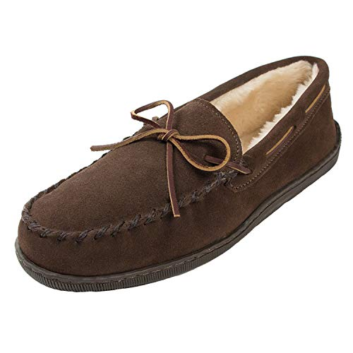 Minnetonka Men's Pile Lined Hardsole Slipper,Chocolate,9 M US