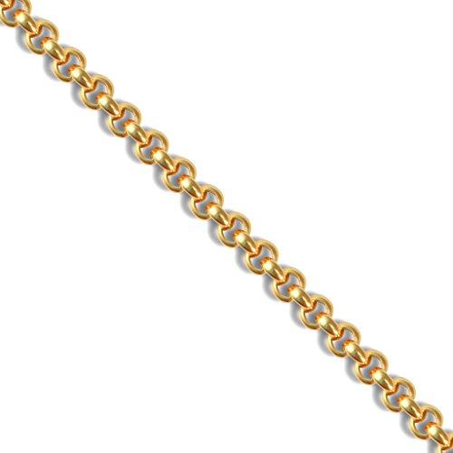 Jewellery World Bague en or jaune 9carats mailles jaseron lourds creux or bracelet 19,1cm