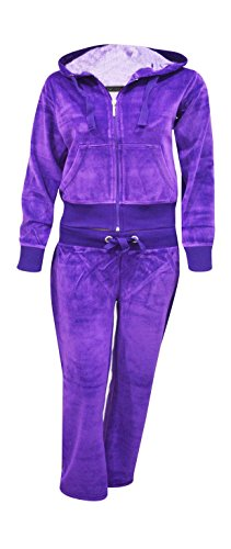 (Kids Girls Hooded Velour Comfortable Pocket Zip Plus Size Active Jogging Lounge Top Bottom Suit Sweatpants Tracksuit_Purple_13-14)