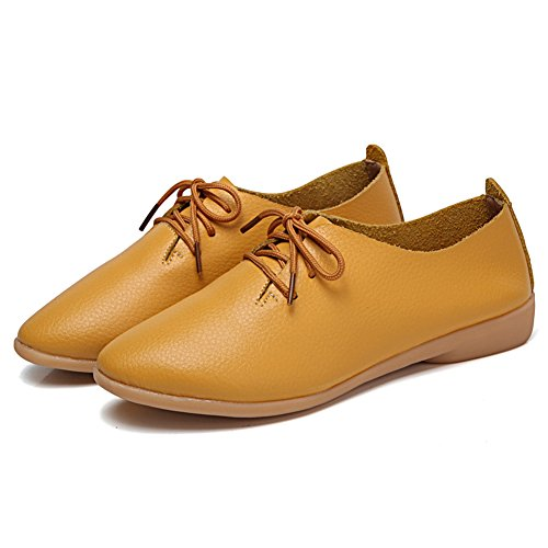 Slip Kelly Leather For Shoes Panda Loafers On Yellow Women Laces Flat Causal BqnUXf