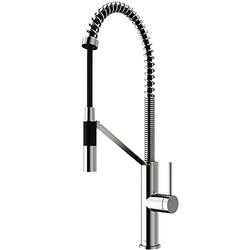 VIGO VG02027ST Livingston 23.5 Inch Single Handle Brass Kitchen Faucet with Pull Down Magnetic Sprayer, Commercial Centerset Single Hole Kitchen Sink Faucet, Plated Seven Layer Stainless Steel Finish