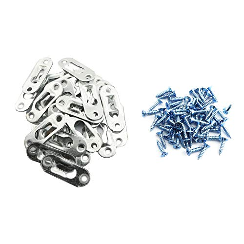RuiLing 30PCS 43mm x 16mm Picture Hanger Metal Keyhole Hanger Fasteners with Screws for Picture Photo Frame Furnniture Cabinet