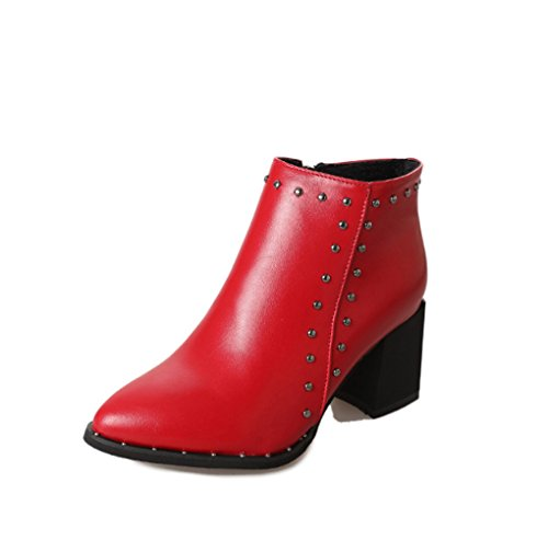 Korean Version Heeled Pointed Red British Shoes XZ Style Boots Martin Thick and High Rivet Winter Women's Autumn Short Boots qUwOY0Xw