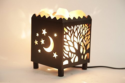 (DIA Natural Himalayan Salt Lamp in Moon Tree Design Metal Basket with Dimmable Cord For Christmas And Halloween gifts)