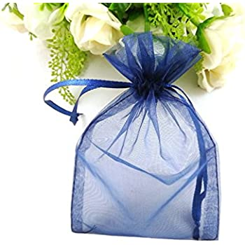 Amazon 100pcs Navy Blue Organza Drawstring Pouches Jewelry