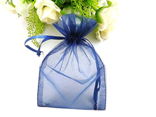 SumDirect 100Pcs 4x6 Inches Sheer Drawstring Organza Jewelry Pouches Wedding Party Christmas Favor Gift Bags (Blue) (Drawstring Sheer)