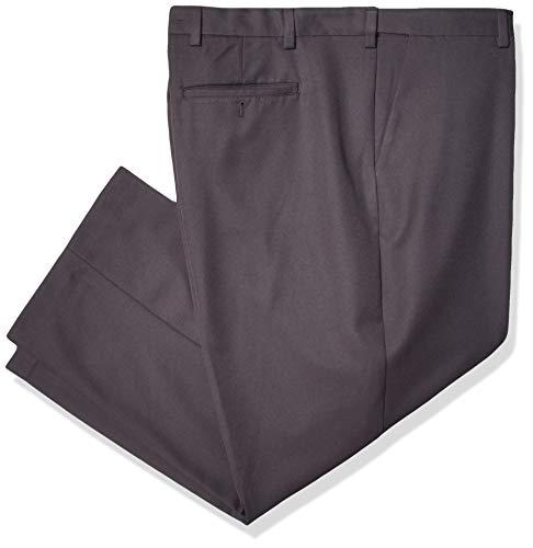 Arrow Men's Big and Tall Flat Front Straight Fit Solid Twill Micro Dress Pant, Charcoal, 44W x 29L