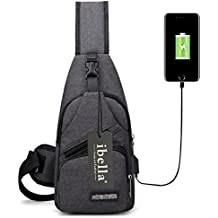 Sling Bag with USB Charging Port Crossbody Canvas Chest Bag for Mens Hiking Backpack