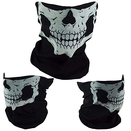 VIDA552 3x Skeleton Ghost Skull Face Mask Cycling Biker Balaclava Call -