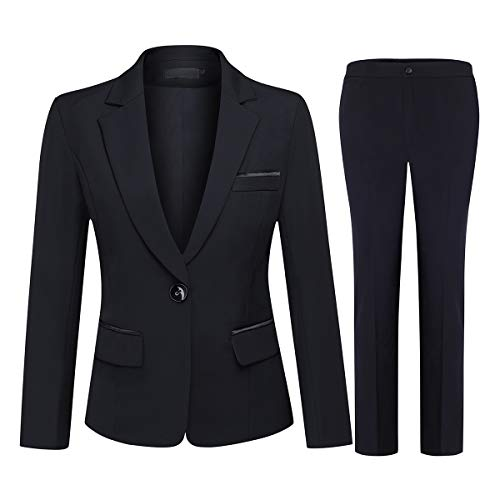 (Women's 2 Piece Office Lady Business Suit Set Slim Fit Blazer Pant)