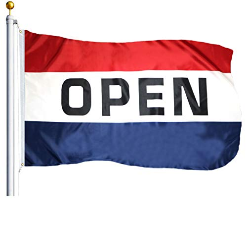 G128 – Open Sign Business Flag | 3x5 feet | Printed – Vibrant Colors, Brass Grommets, Quality Polyester