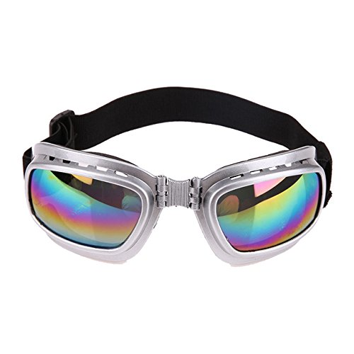 0222 Sunglasses - BeesClover New Cool Dog Sunglasses Windproof Anti-Breaking Pet Goggles Eye Wear Protection Goggles Sun-Resistant Dog Glasses Accessaries Silver