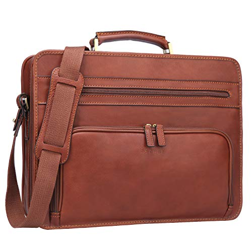 Banuce Full Grains Italian Leather Briefcase for Men Business Attache Case Tote Handbag Laptop Shoulder Messenger Bag Brown