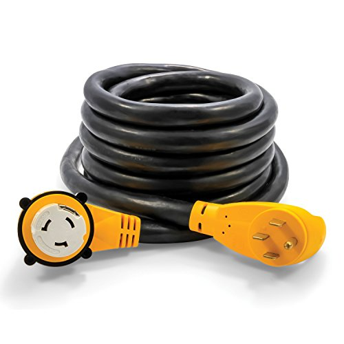 (Camco 25 Foot Extension Cord - 50 Amp Standard Male to 50 Amp 90 Degree Female Locking Adapter (55574) )