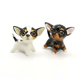 Chihuahua Short Haired Dog Ceramic Figurine Salt Pepper Shaker SH00014 Ceramic Handmade Dog Lover Gift Collectible Home Decor Art and Crafts