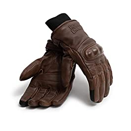 Royal Enfield Brown Leather Protective Riding Gloves for Men (RRGGLL000008)