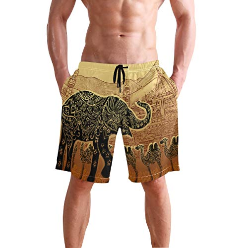 Lounge Coaster Personalized - Mens Shorts Silhouette Elephant Camel Ethnic Boxer Briefs Short Sleep Pants for Boys