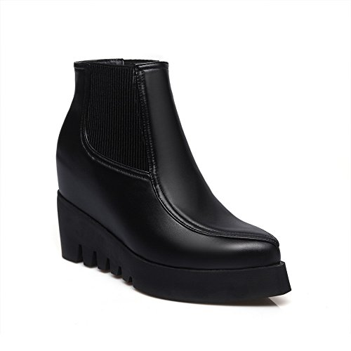 1TO9 Girls Heighten Inside Winkle Pinker Pull-On Imitated Leather Boots