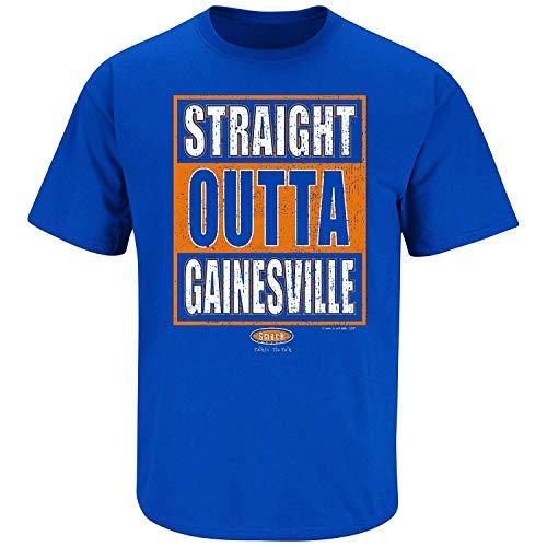Florida Football Fans. Straight Outta Gainesville Blue T-Shirt (Sm-5X) (Short Sleeve, 3XL)
