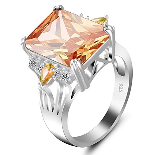 ted Marquise Yellow Topaz Rings Simulated Citrine Gemstone Birthstone Cushion Cut Cubic Zirconia Wedding Solitaire Bridal Ring Jewelry Christmas Gifts (6) (Stone Marquise Cut Birthstone Ring)