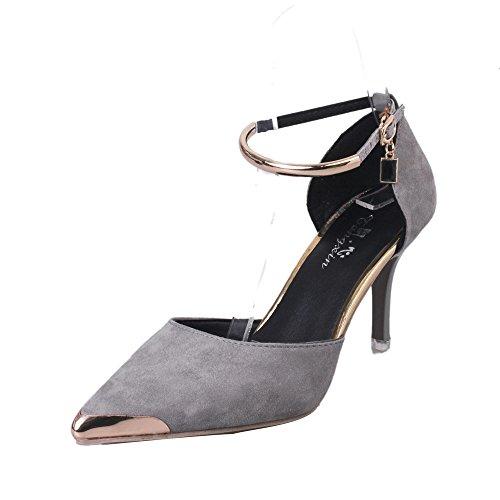 Dodumi Femmes Talons A Pointé Dame Sangle Femme Mariage Compensées Sandales Hauts La Les Sexy Boucle Ont À Gris Fait Style Chaussures De SCqwrSB