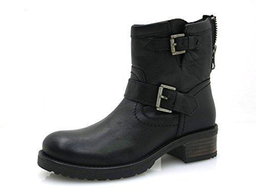 Buffalo robusto Stiefel corto Zapatos piel Botas De Cuero 30509 negro brandy Negro