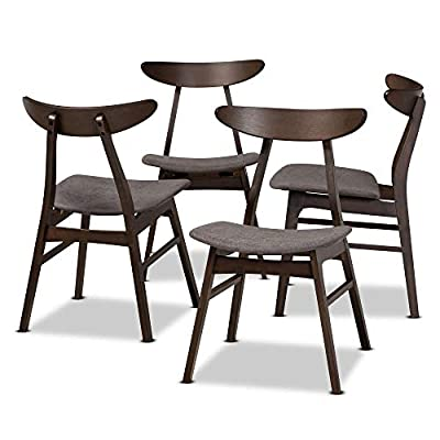Baxton Studio Dining Chairs, Dark Grey/Dark Brown - Mid-century modern set includes four (4) dining chairs Constructed from rubber wood Dark oak brown Finish - kitchen-dining-room-furniture, kitchen-dining-room, kitchen-dining-room-chairs - 412wov 0cfL. SS400  -
