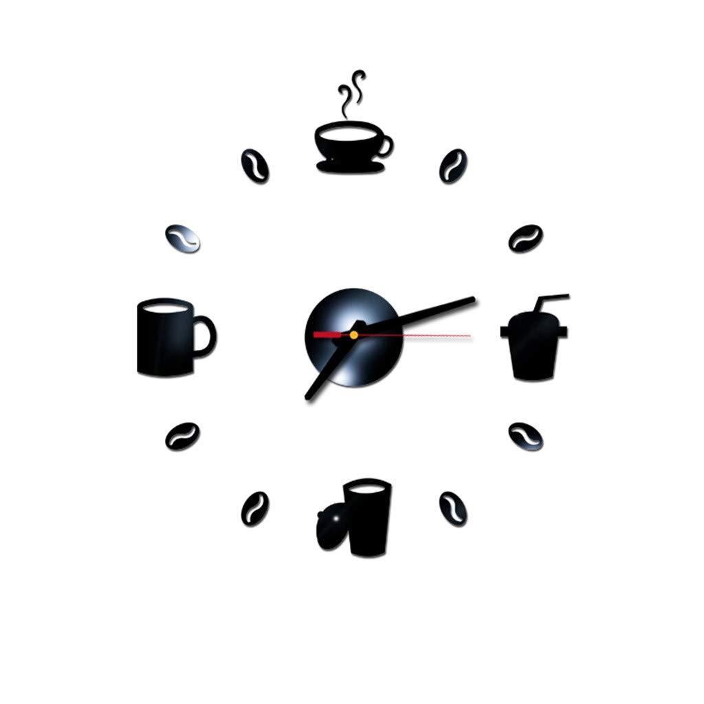 Baulody 3D DIY Wall Clock Decor Sticker Mirror Frameless Large DIY Wall Clock Kit for Home Living Room Bedroom Office Decoration (Black)