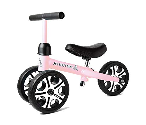 MY FIRST BIKE New 2019 with Adjustable Height Seat and Handlebars Baby Balance Bike for Toddlers Age 12-48 Months Toddlers First Birthday Ride on Walking Trainer ... (Pink) (Best Bikes For Toddlers 2019)