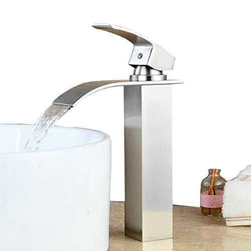 Beelee Brushed Nickel Single Handle Basin Faucet Mixer Tap Waterfall Vanity Sink Faucet For Bathroom Bath Basin for Vessel Sinks