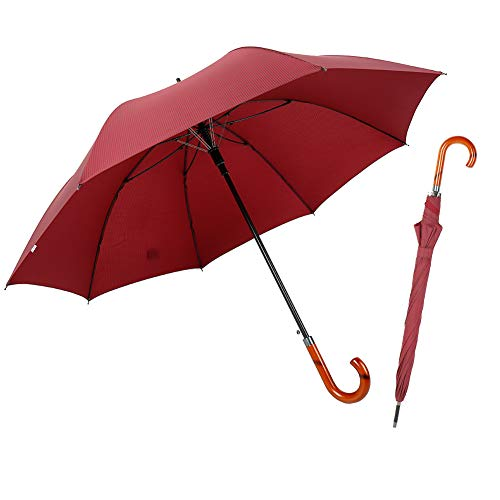 (TIME LOVER Stick Umbrella Oversize Windproof Umbrella Wooden Hook Handle J Stick Automatic Open Fast Drying Umbrella for Men Women (Red stripe))