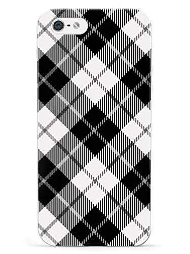 Inspired Cases - 3D Textured iPhone 5/5s/SE Case - Rubber Bumper Cover - Protective Phone Case for Apple iPhone 5/5s/SE - Black and White Plaid