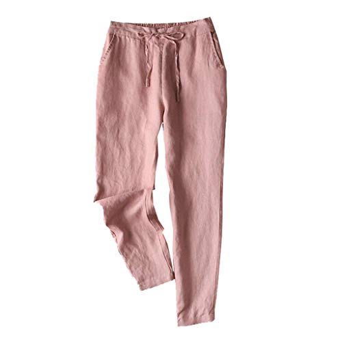 TIFENNY Casual Loose Linen Pants for Womens Elastic Waist Cropped Trousers Bottoms Sports Wear Pants Pink]()