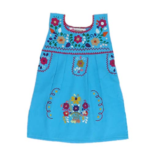 (Mexican Clothing Co Baby Girls Mexican Dress Sleeveless Tehuacan Poplin NB Blue 9732)