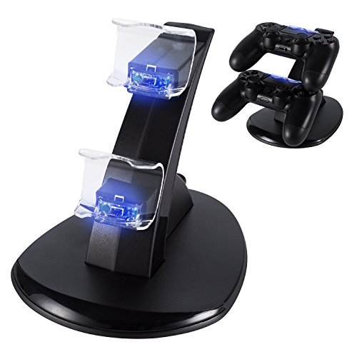 Puning PS4 Controller Charger, Playstation 4/PS4 Pro/PS4 Slim Controller Charger Charging Docking Station Stand.Dual USB Fast Charging Station&LED Indicator for Sony PS4 Controller—Black