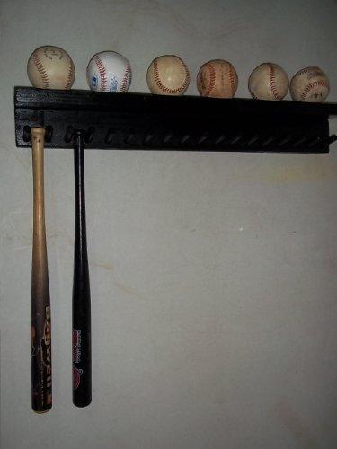 Solid Wood Baseball Mini Size Bat Rack up to 17 Bats 6 Balls Black Custom Deluxe M17B6 by Baseballrack