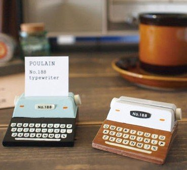 Typewriter Note - Wooden Vintage Typewriter Sticky Notes Card Holder Cardcase