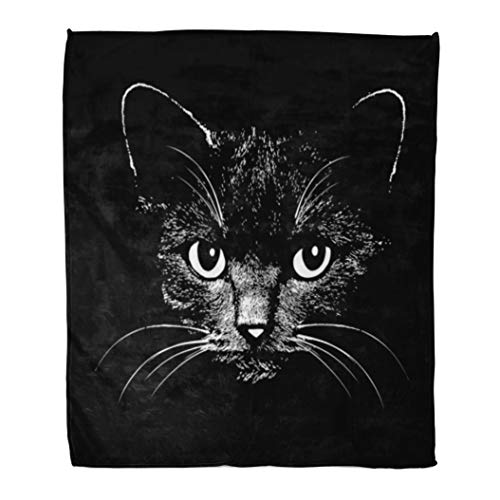 Emvency Decorative Throw Blanket 60 x 80 Inches Face Cat Head Graphic Design Animal for Sketch Tattoo Halloween Drawing Silhouette Warm Flannel Soft Blanket for Couch Sofa Bed -