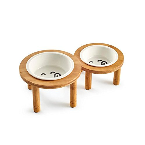 S Isali Ceramic Pet Bowl with Sturdy Bamboo Stand for Food and Water Bowls Pet Feeders Two Size (Size  S) Cat Feeding & Watering