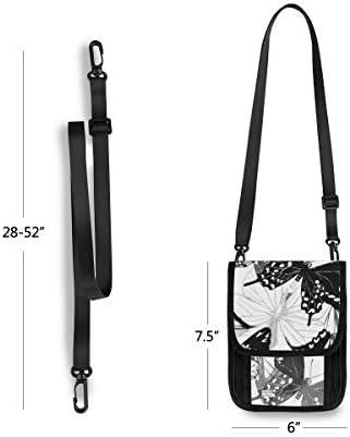 トラベルウォレット ミニ ネックポーチトラベルポーチ ポータブル 蝶柄 小さな財布 斜めのパッケージ 首ひも調節可能 ネックポーチ スキミング防止 男女兼用 トラベルポーチ カードケース
