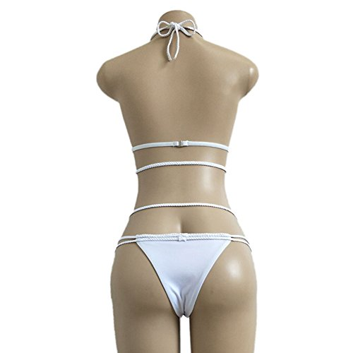 Vandot Mujeres Niñas Sólido Color Triángulo Bikini Brasileño Atractivo Vendaje Cabestro Recortó Bikini G-string Tanga Vacaciones Traje de Baño Ropa de Playa Swimwear, Amarillo, Talla Grande S-XL Color 04