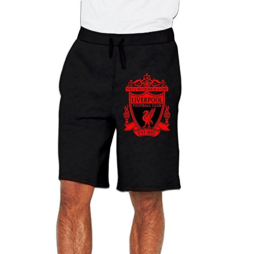 [Men's UEFA Champions League Liverpool Football Club Logo Cotton Short Fleece Sweatpant Black US Size XL] (Football Club Cotton)