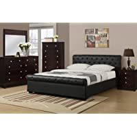 Upholstered Full Size Bed with Button Tufting by Poundex