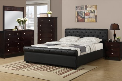 Poundex F9246Q Queen Size Bed with Button Tufting
