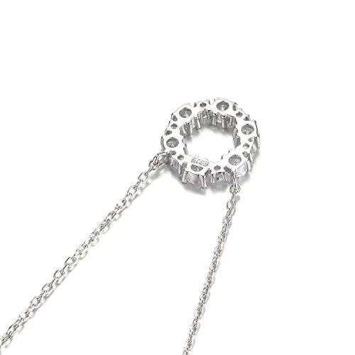 JewelryPalace Magnifique Collier Pendentif Fleur Femme Filles en Zircon Cubique de Synthèse CZ avce une Chaîne en Argent Sterling 925 45cm