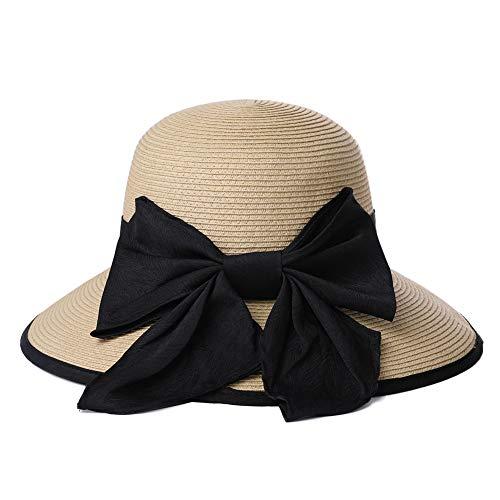 Straw Derby Sun Hat Fedora Black Ribbon Bow Women Packable Panama Cloche Beige 56-58cm