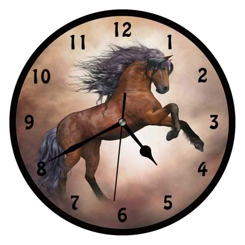 47BuyZHJX Brown Horse Decorative 10 Inchs Round Wall Clock,Silent Non Ticking Quartz Battery Operated Black Wall Clock for Home/Office/School.