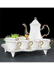 8-Piece Porcelain Ceramic Coffee Tea Gift Sets, 6 Cups, Teapot, Serving Tray?Ceramic Tea Set, Porcelain Tea Cup Set, Adult Tea Party Service Set (Full Gold-Golden Wealth)