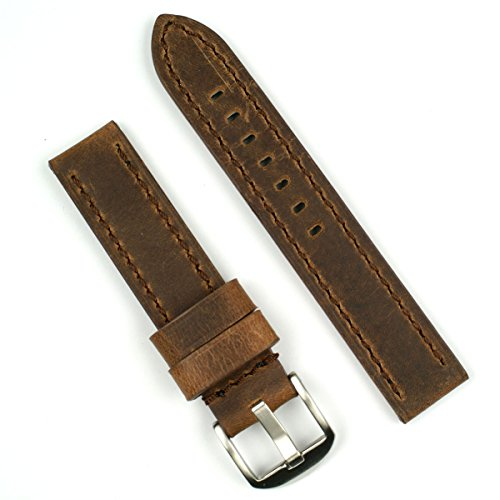 Dark Brown Crazy Horse 20mm Leather Watch Band for Omega