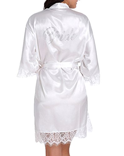Bride Robes White Lace Bridal Party Robes Rhinestone Satin(Bride White -